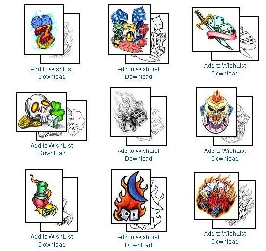 Sample Dice Tattoo Designs