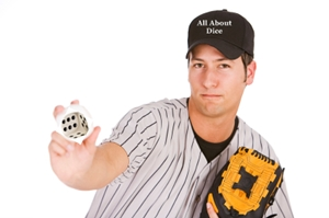 Baseball player throwing dice
