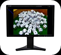 black monitor with white dice