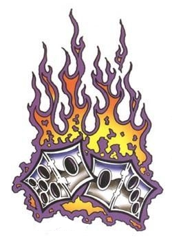dice with purple orange flames